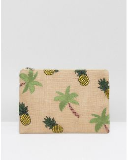 Zip Top Pouch With Tropical Embroidery