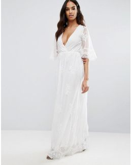 Embroided Detailed Lace Wrap Front Maxi Dress