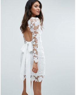 Long Sleeve Crochet Dress With Open Back & Tie Bow