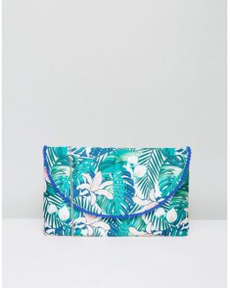 Rainforest Embroidery Zip Top Pouch