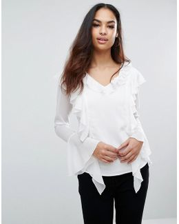 Shirt With Ruffle Front