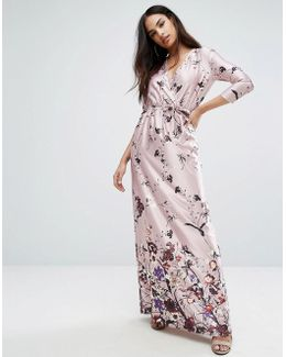 3/4 Sleeve V Neck Maxi Dress In Border Print