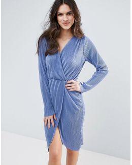 Plisse Detailed Wrap Over Midi Dress