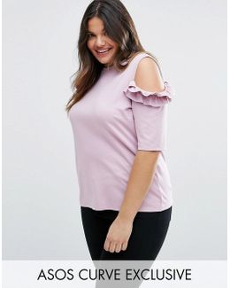 Top With Ruffle Cold Shoulder In Ponte
