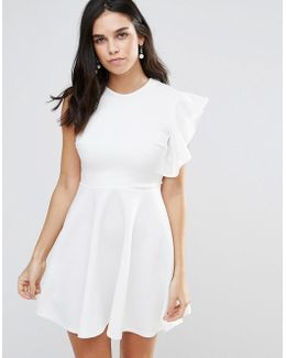 One Shoulder Ruffle Detailed Skater Dress