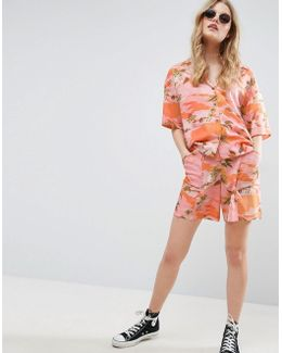 Hawaiian Print Board Shorts Co-ord