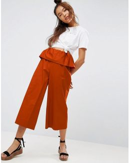 Wide Leg Trousers With Ruffle Waist