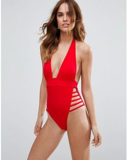 Ultra Strappy High Leg Cut Out Plunge Swimsuit