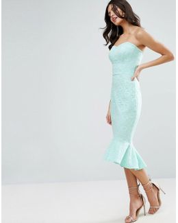 Lace Bandeau Pephem Midi Dress