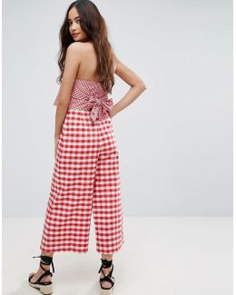 Jumpsuit With Contrast Gingham Bodice