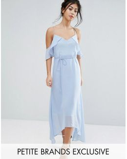 Frill Cold Shoulder Cami Maxi Dress With Ruffle Hem Detail