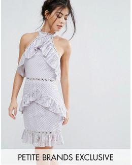 Sleeveless Lace Ruffle Detail Mini Dress