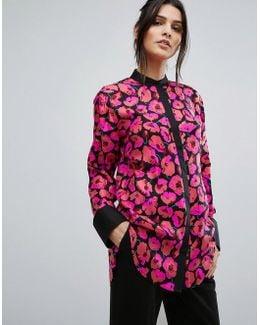 Poppy Print Silk Blouse