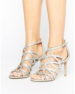 By Dune Mae Silver Caged Heel Sandals