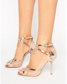 By Dune Meryl Rose Gold Heeled Sandals