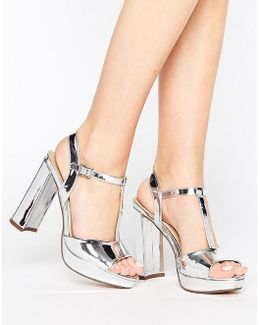 By Dune Missy Metallic Platform Heeled Sandals