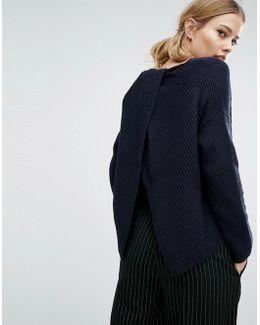 Twist Back Shaker Knit Sweater