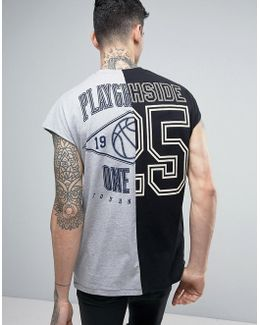 Oversized Sleeveless Spliced T-shirt With Cut & Sew Back Print