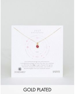 Ruby Gem July Birthstone Necklace
