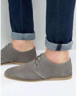 Derby Shoes In Gray Suede With Piped Edging
