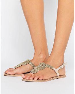 Carmen Nude Leather Embellished Flat Sandals