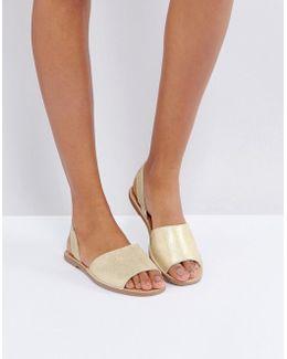 Suede Metallic Two Part Sandals