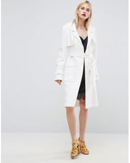 Trench In Structured Crepe With Oversized Pockets