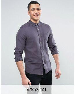 Tall Regular Fit Slubby Viscose Shirt In Gray