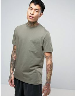 T-shirt With Pocket And Side Vents In Green
