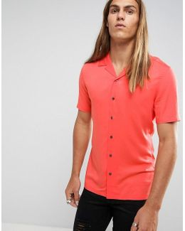 Skinny Viscose Shirt With Revere Collar In Coral