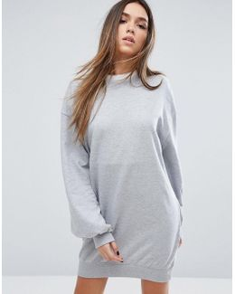 Balloon Sleeve Sweat Sweater Dress