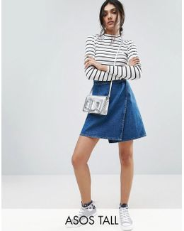 Denim Wrap Skirt In Mid Wash Blue