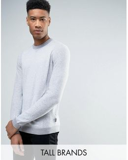 Tall Crew Neck Sweater In Texture