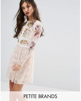 Premium Embroidered Lace Mini Prom Skater Dress