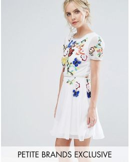 Premium Embellished Top Mini Prom Skater Dress