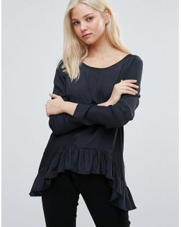 Long Sleeve T- Shirt With Peplum Hem