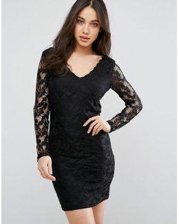 V Neck Lace Bodycon Dress