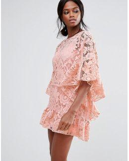 Lace Kimono Sleeve Dress