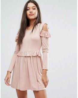 Frill Cold Shoulder Mini Dress