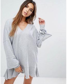 Ruffle Bottom Sweat Dress