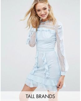 Long Sleeve All Over Lace Dress With Frill Detail