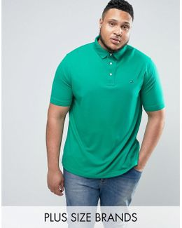 Plus Luxury Pique Polo Flag Logo In Green