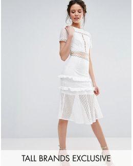 Cutout Lace Dress With Frill Hem
