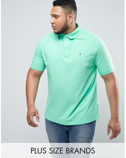 Plus Luxury Pique Polo Flag Logo In Light Green