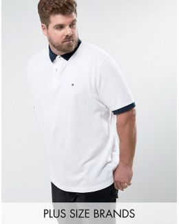 Plus Contrast Cuff Polo Logo Collar Reverse Slim Fit In White