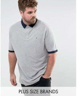 Plus Contrast Cuff Polo Logo Collar Reverse Slim Fit In Grey Marl