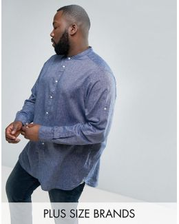 Plus Collarless Shirt Cotton Linen Chambray In Navy