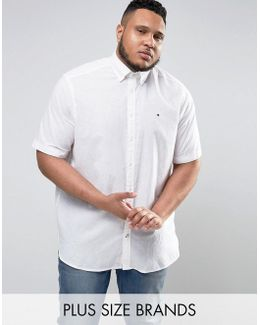 Plus Short Sleeve Shirt Buttondown Cotton Linen In White