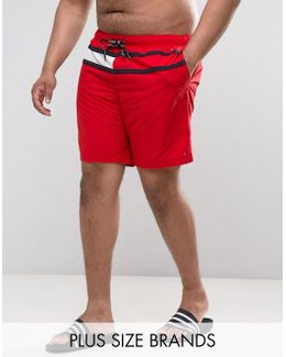 Plus Flag Swim Shorts In Red
