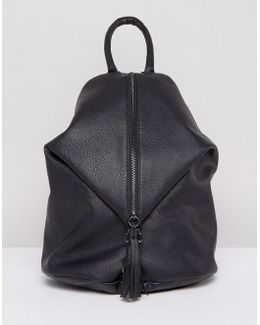 Front Zip Backpack With Dog Clip And Tassel